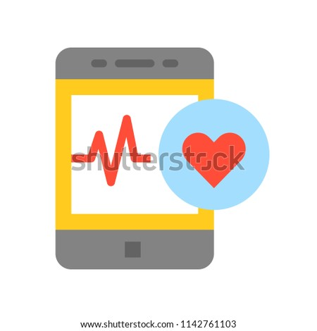 Smartphone with vital signs check function, medical and hospital related flat design icon set