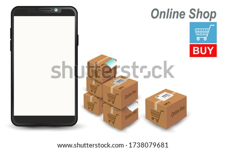 Smartphone with white space screen for product images. or for the online store website. To arrange the elements web page shopping online Along with bulk product box or bulk Postage box.