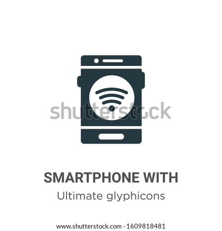 Smartphone with wireless connection glyph icon vector on white background. Flat vector smartphone with wireless connection icon symbol sign from modern ultimate glyphicons collection for mobile