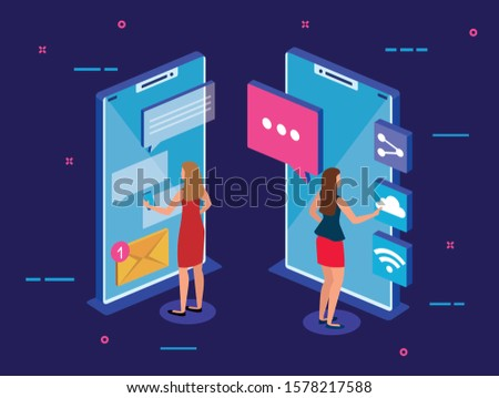 Smartphones and people design, Digital technology communication social media internet and web theme Vector illustration