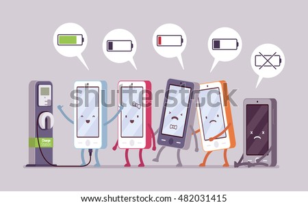 smartphones are charging near