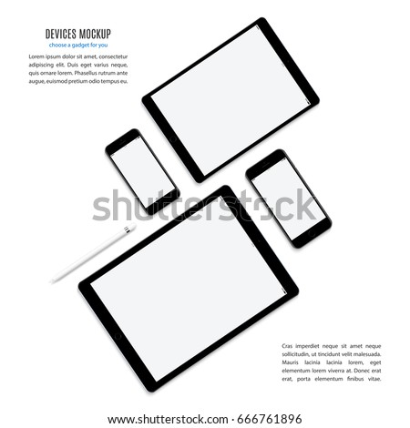 smartphones, tablets and stylus set black color with blank screen saver top view isolated on white background. realistic and detailed devices mockup. stock vector illustration