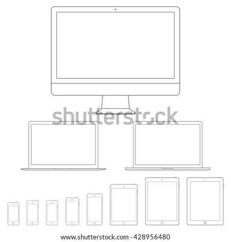 smartphones, tablets, computer monitor and laptops icon in outline design isolated on white background. devices and gadgets set in thin line style. stock vector illustration