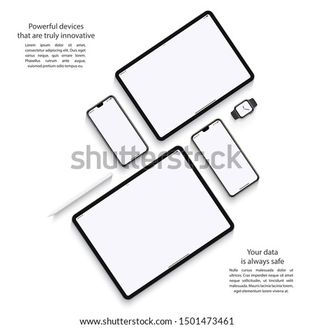 smartphones, tablets, smart watch and stylus set with blank screen saver top view isolated on white background. realistic and detailed devices mockup. stock vector illustration Stock photo ©