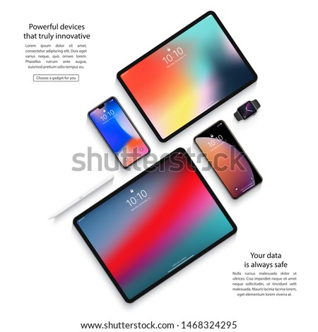 smartphones, tablets, smart watch and stylus set with colorful screen saver top view isolated on white background. realistic and detailed devices mockup. stock vector illustration