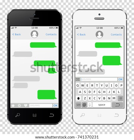 Smartphones with messaging sms app template, isolated on transparent background