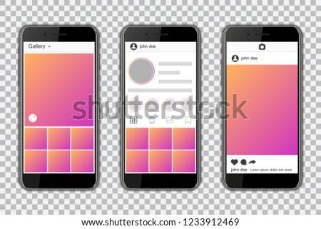 Smartphones with mockup social media frame. Vector illustration.