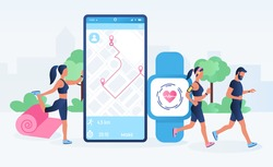 Smartwatch app and fitness tracker technology concept. Active people characters running with heart rate monitor. Fitness tracker, heartbeat, counting calories. Flat cartoon vector illustration