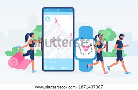 Smartwatch app and fitness tracker technology concept. Active people characters running with heart rate monitor. Fitness tracker, heartbeat, counting calories. Flat cartoon vector illustration stock photo