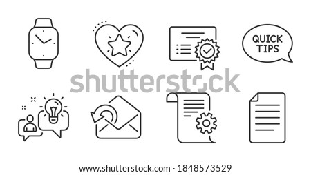 Smartwatch, File and Ranking star line icons set. Certificate, Quickstart guide and Technical documentation signs. Send mail, Idea symbols. Digital time, Paper page, Love rank. Education set. Vector