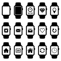 Smartwatch wearable technology symbol with different icons. Flat design style modern vector illustration concept of smartwatch gadget, clock time, Diamond, Map Pin Location etc icon and empty window