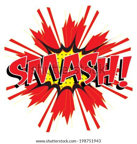 smash wording in comic speech bubble in pop art style on burst