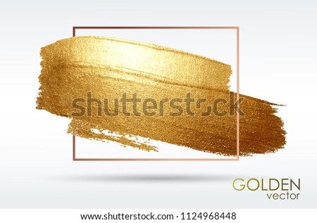 Smear swith an artistic brush. Gold grunge texture. Brilliant shiny patterns. Samples are stored in the palette of brushes. Light background. Vector abstract image. A high resolution.