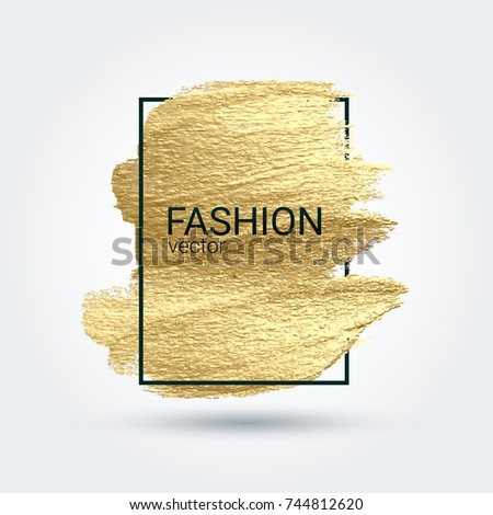 Smear with an artistic brush. Gold grunge texture in a frame. A brilliant festive pattern. Light background. Vector abstract image. A high resolution.