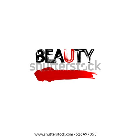 Smears of red lipstick. Beauty and cosmetics background. Use for advertising flyer, banner and leaflets. Vector template.