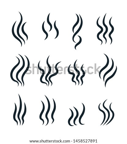 Smell icons. Flowing heat, cooking steam warm aroma smells stinks mark, steaming vapour odour vector isolated line symbols. Smell fume, scent line odor illustration