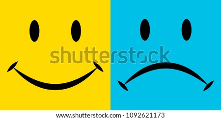 smile and sorrow, the emotions of joy and disappointment, vector icons, emotions of happiness and sadness