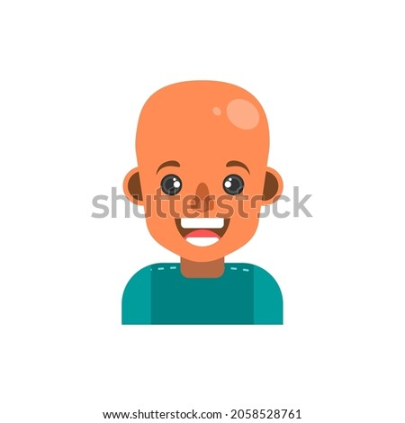 smile boy with bald head avatar. Vector Cartoon Face Isolated On White Background