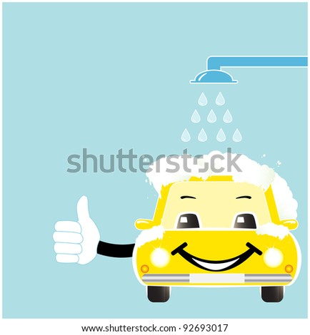 smile cartoon car in car wash with soap spume