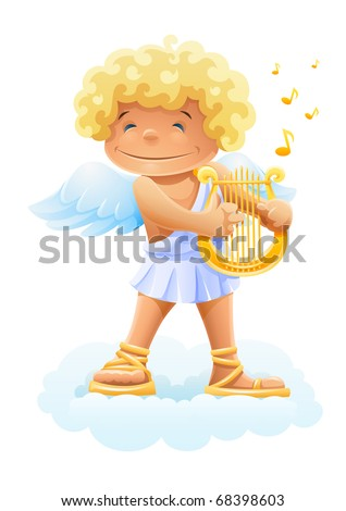 smile cupid playing lyre vector illustration isolated on white background