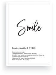 Smile definition, vector. Minimalist poster design. Wall decals, smile noun description. Wording Design isolated on white background, lettering. Wall art artwork. Modern poster