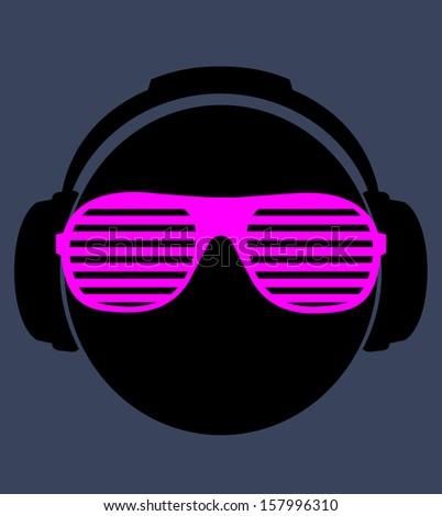 smile dj in headphone. vector print illustration