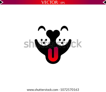 smile dog face logo heart nose