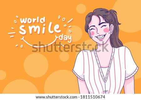 smile girl cartoon character