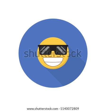 Smile icon in a flat design with long shadow for social media.