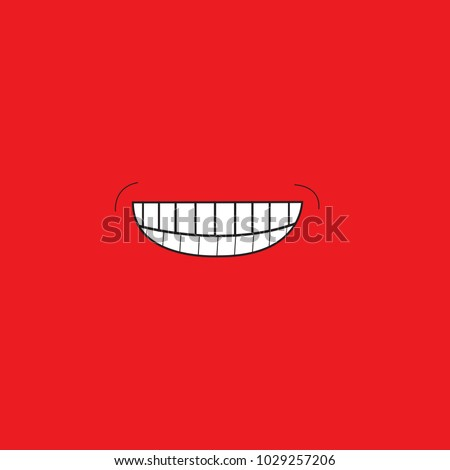 Smile icon isolated on red background.Trendy smile icon in flat style. Template for web site, wallpaper, app, ui and logo. Vector illustration, eps 10