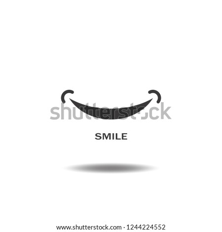 Smile icon logo vector or happy,mouth flat sign symbols illustration isolated on white background black color.Concepts objects design art.