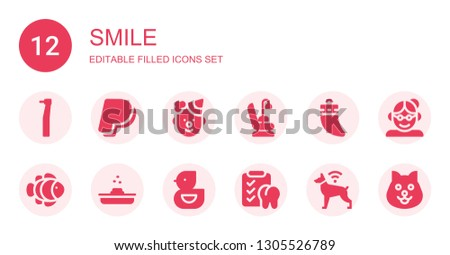 smile icon set. Collection of 12 filled smile icons included Dentist, Paypal, Clown, Dentist chair, Teeth, Clown fish, Poop, Ducky, Dental, Dog, Grandmother
