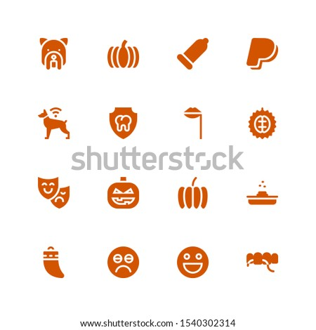 smile icon set. Collection of 16 filled smile icons included Floss, Emoticon, Sad, Teeth, Poop, Pumpkin, Theatre mask, Durian, Lips, Dental, Dog, Paypal, Condom