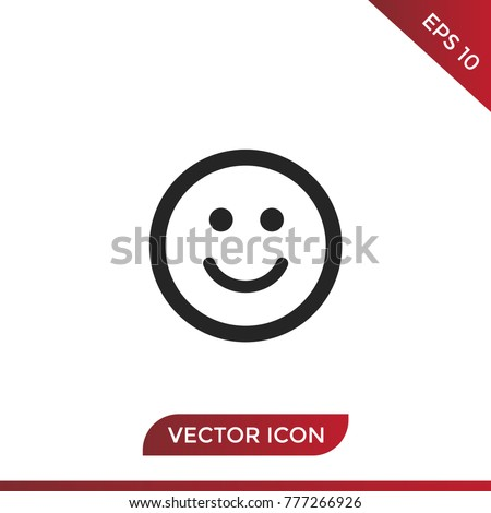 Smile icon vector. Happy symbol. Face pictogram, flat vector sign isolated on white background. Simple vector illustration for graphic and web design.