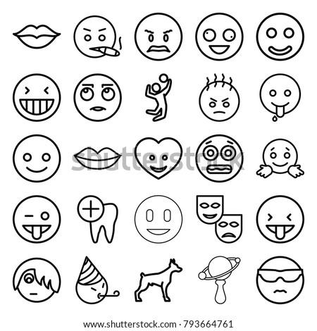 smile icons set of 25 editable