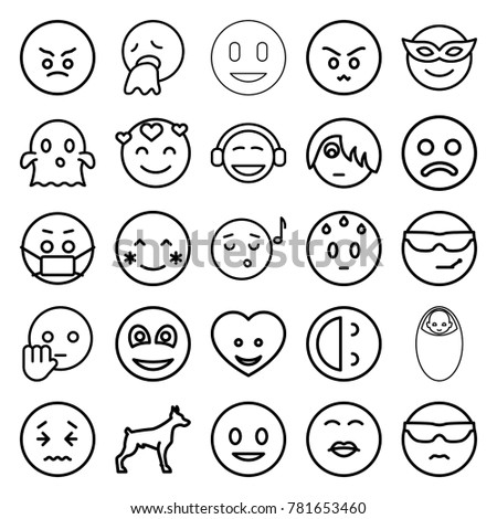 Emoticons faces set, simple and flat Stock Photo 271042679