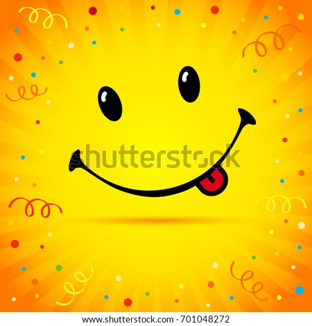 Smile on confetti and ribbon yellow card. Smiling with tongue on yellow rays vector background. World Smile Day banner