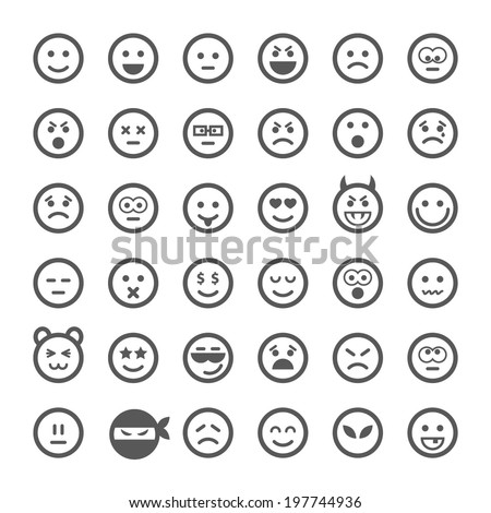 Smile set, vector.