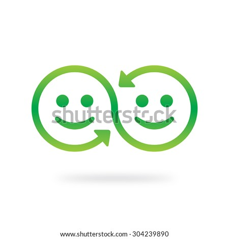 Smile sharing symbol. Emotional interaction concept. Swap vector icon.