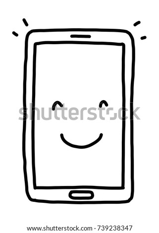 smile smartphone / cartoon vector and illustration, black and white, hand drawn, sketch style, isolated on white background.