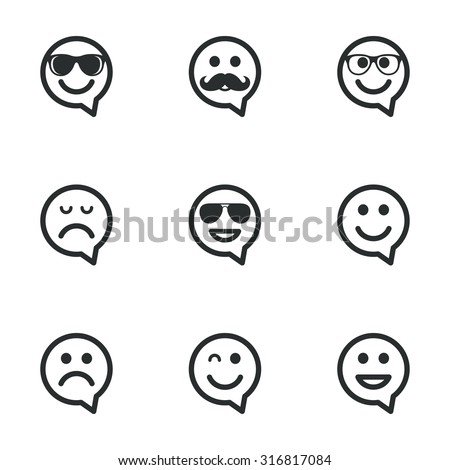Smile speech bubbles icons. Happy, sad and wink faces signs. Sunglasses, mustache and laughing lol smiley symbols. Flat icons on white. Vector