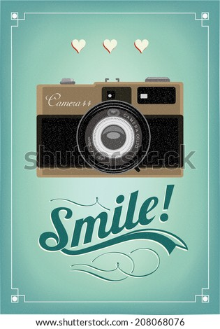 Smile Vintage Old Camera Typographical Poster