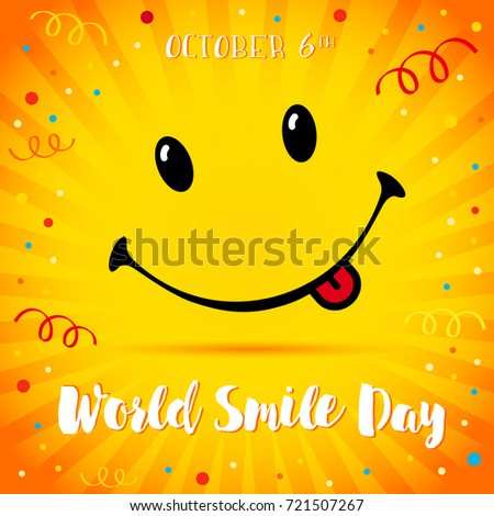 Smile with tongue and lettering World Smile Day on yellow beams and confetti background. World Smile Day confetti smiling card. Vector illustration