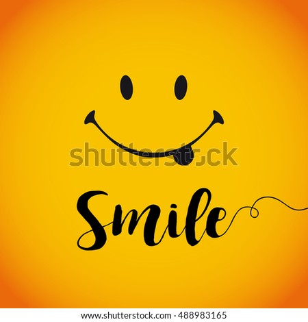 Smile world day. Smile with tongue and lettering on yellow background
