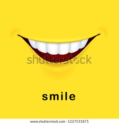 Smile yellow background with realistic smiled mouth