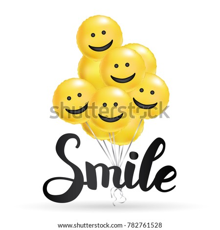 smile yellow balloons background