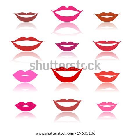 Smiles, lips icons on white