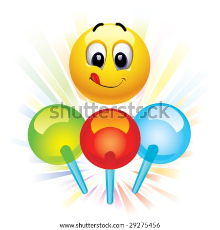 Smiley ball and motley lollypops