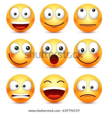 smiley emoticon set yellow