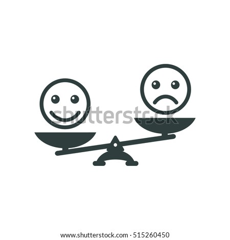 Smiley emoticons different mood on scales, vector icon. Positive attitude as advantage. Happiness versus sadness.